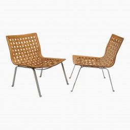 Pair of Woven Leather and Steel Chairs
