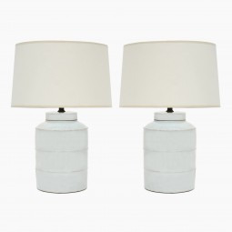 Pair of Ribbed White Stoneware Lamps