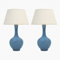 Pair of Blue Stoneware Table Lamps