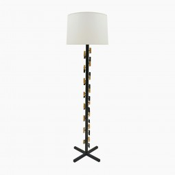 Black Iron and Gilt Metal Standing Lamp