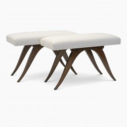 Pair of Wooden Benches with Upholstered Seats