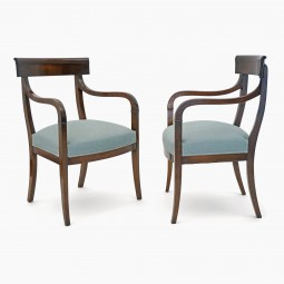 Pair of Curved Back Cherry Armchairs