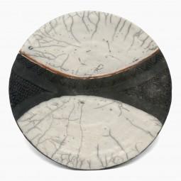 Black and White Raku Fired Plate
