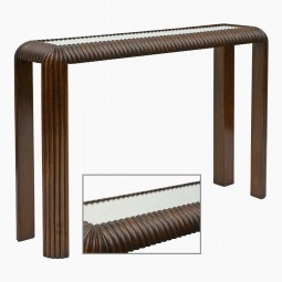 Reeded Mahogany Console with Mirrored Top