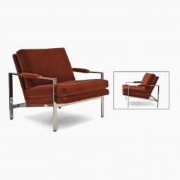 Chrome Milo Baughman Upholstered Armchair