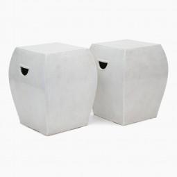 Pair of White Ceramic Garden Seats