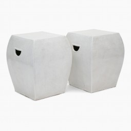 Pair of White Ceramic Garden Seats