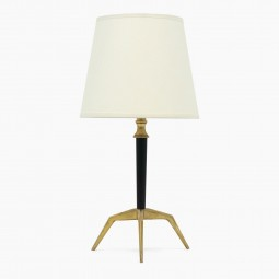 Small Black Metal and Brass Table Lamp