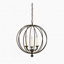 "Three-Light Iron Open Sphere Pendant Light Fixture (14"" Diameter)"