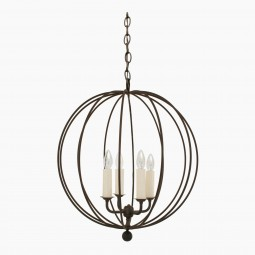 "Four-Light Iron Open Sphere Pendant Light Fixture (19"" Diameter)"
