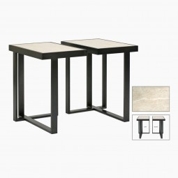 Rectangular Iron and Travertine Asymmetrical Drinks Table