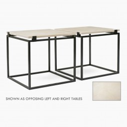 Pair of Square Iron Side Tables with Creme Marfil Tops