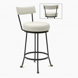 Counter Height Cast Bronze and Black Iron Barstool