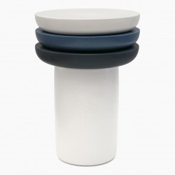 Circular Ceramic Table Base with Tripartite Top