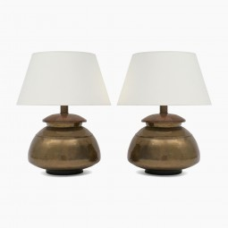 Pair of Brass and Hammered Copper Lamps