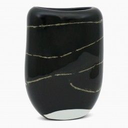 Hand Blown Black Glass and Gold Vase