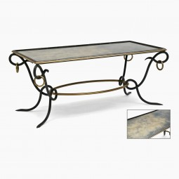 Iron, Brass and Mirrored Coffee Table
