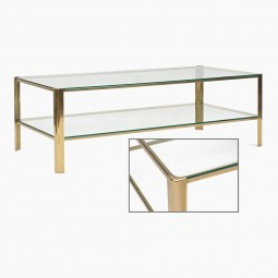 Two-Tiered Brass and Glass Coffee Table