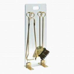 Brass and Glass Fireplace Tools