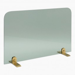 Glass and Brass Fireplace Screen