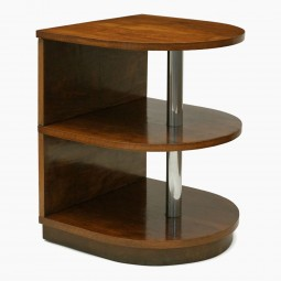Walnut and Chrome French Side Table