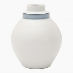 Round White Porcelain Stepped Vase with Blue Band