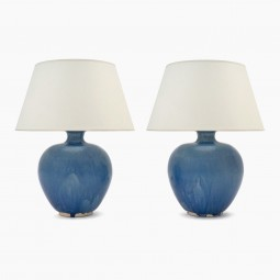 Pair of Washed Blue Table Lamps