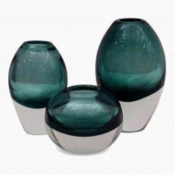 Set of 3 Molded Jasper Glass Vases