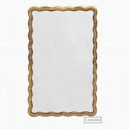 Wavy Gilt Wood French Mirror