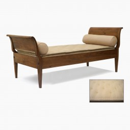 French Walnut Daybed with Curved End Panels