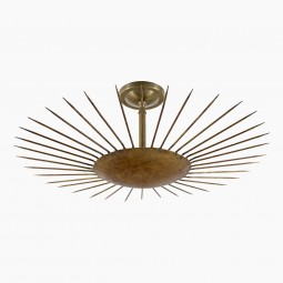 Gilt Iron Sunburst Light Fixture