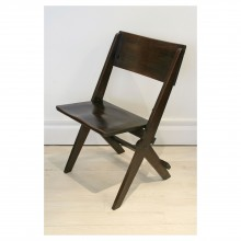 Set of Six English Oak Folding Chairs