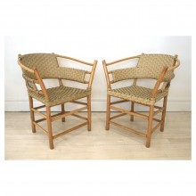Pair of Bamboo and Woven Leather Arm Chairs