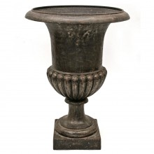 Large French Polished Steel Urn