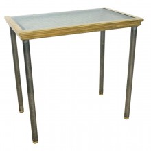 French Steel, Glass and Brass Console Table