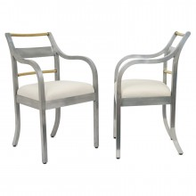 Pair of Italian Aluminum and Brass Chairs