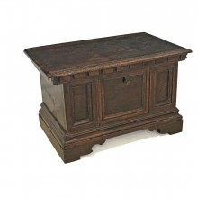Italian Walnut Paneled and Carved Trunk