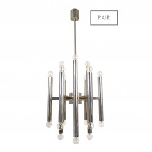 Pair of Eighteen Light Chrome Italian Chandeliers