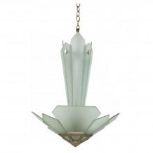 French Art Deco Frosted Glass Chandelier