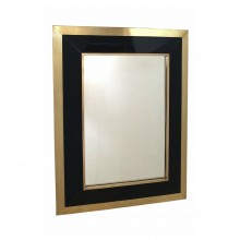 Brass and Black Lacquer Wall Mirror
