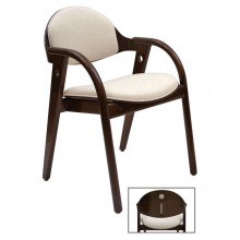 French Wood Chairs with Curved Arms