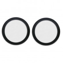 Pair of Circular Black and Chrome Wall Mirrors