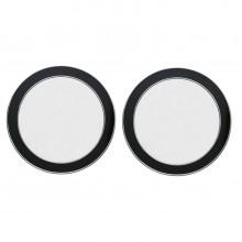 Pair of Circular Black and Chrome Wall Mirrors