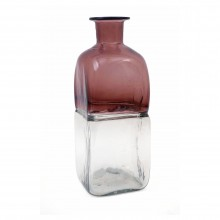 French Two-Color Blown Large Blown Glass Bottle