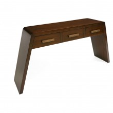 Three Drawer Walnut Console Table with Angled Legs