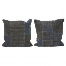 "Navy Antique Kilim Cushions - 19"" Square"