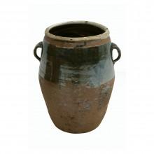 Brown Half Glazed Stoneware Pot with Handles