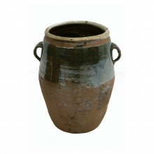 Brown Half Glazed Stoneware Pot with Handles