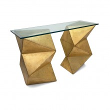 Gilt Wood Geometric Abstract Console Table with Glass Top
