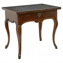 French Walnut Table with Belgian Blue Limestone Top